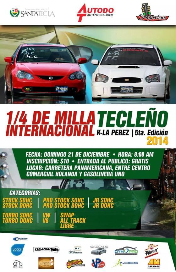 """Afiche del evento """"1/4 de Milla Tecleño Internacional"""" donde la Alcaldía de Santa Tecla aparece como primer patrocinador."""