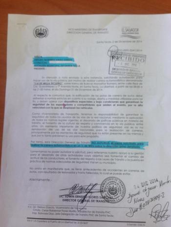 """Carta en la que el VMT niega autorización a la Alcaldía de Santa Tecla para realizar el evento """"1/4 de Milla""""."""