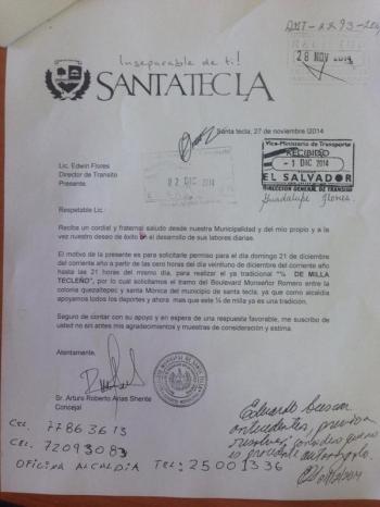 Solicitud de Santa Tecla