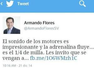 Un tuit enviado por Armando Flores invitando a la población a asistir a una carrera de carros ilegal.