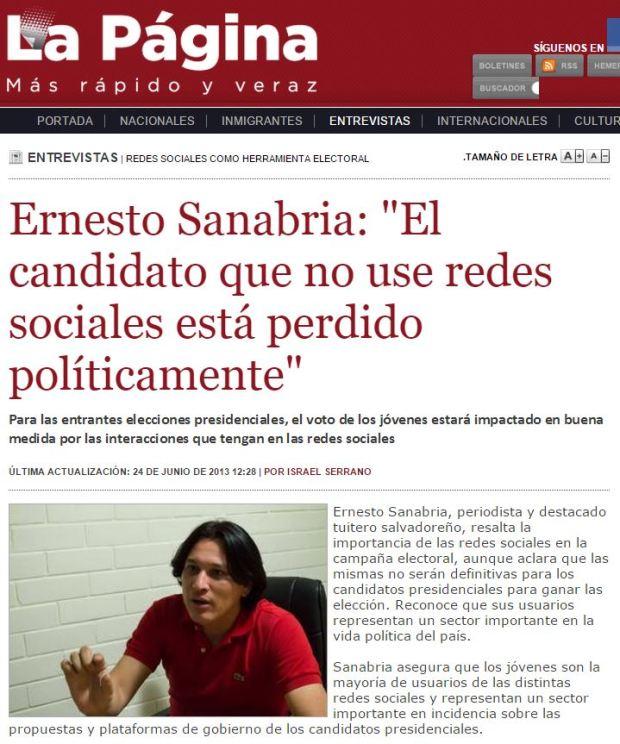 20130624 Ernesto Sanabria entrevista La Pagina