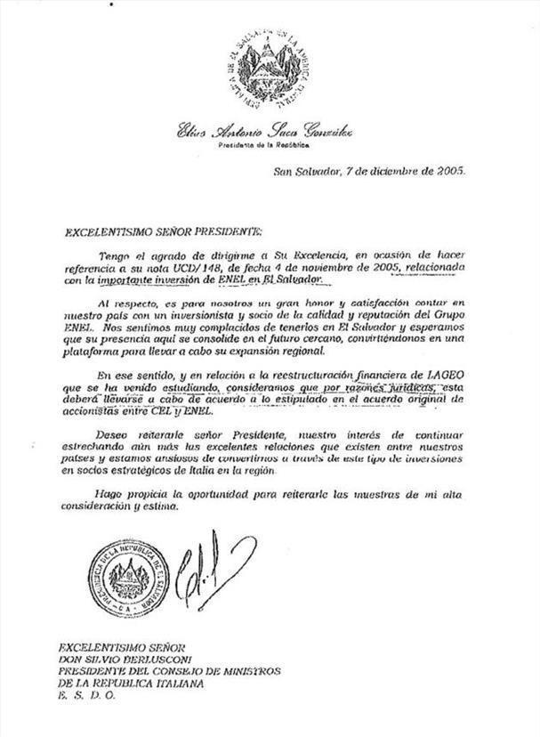 Carta del preesidente Saca al primer ministro Berlusconi, validando el convenio entre CEL y ENEL.