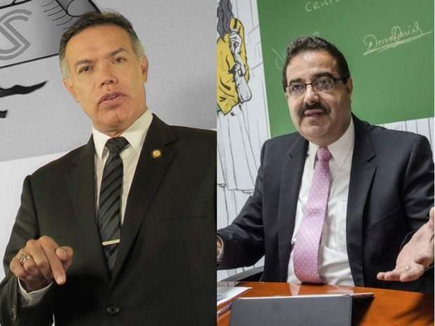 El director del Instituto Guatemalteco del Seguro Social (IGSS) Juan de Dios Rodríguez y el presidente del Banco de Guatemala y vicepresidente del Seguro Social, Julio Suárez.