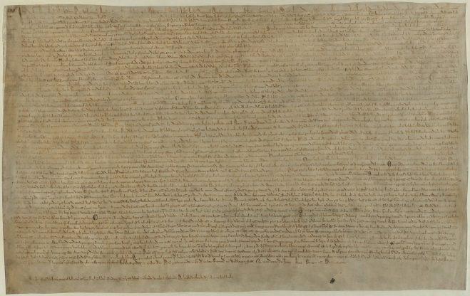Uno de cuatro copias de la Magna Carta que han sobrevivido