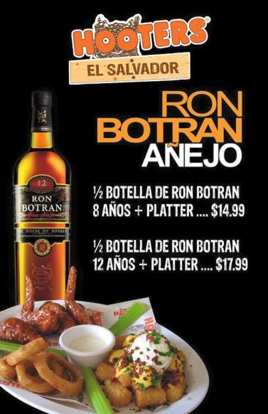 Rum and chicken promotion posted on Hooters' El Salvador Facebook page, which was recently taken down
