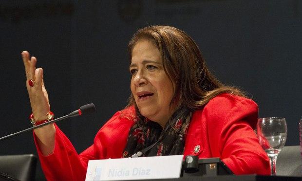 Nidia Díaz, diputada y  secretaria de Relaciones Internacionales del FMLN