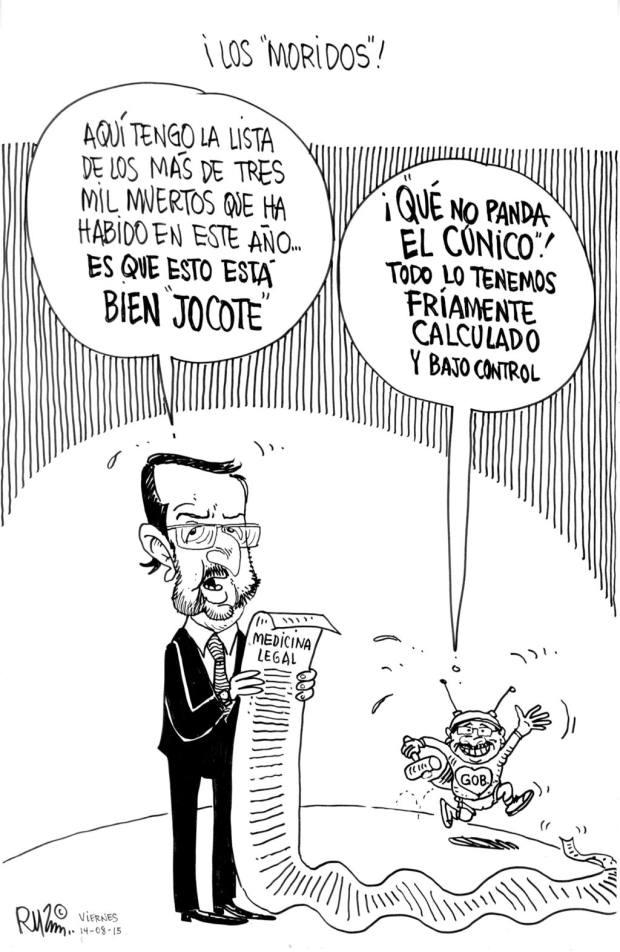 """CARICATURA DE RUZ SOBRE ¡LOS """"MORIDOS""""!, PARA PUBLICARSE EL VIERNES 14 DE AGOSTO DE 2015"""