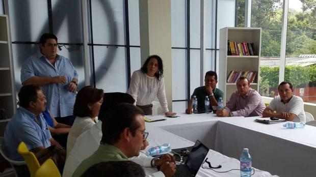 La representante de la alcaldía de Nuevo Cuscatlán, Carolina Recinos, durante la reunión con los desarrolladores de proyectos en ese municipio | Foto por José Zometa