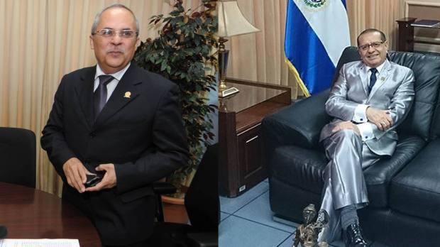 El informe se publicó en la transición de Sánchez Trejo (izq.) con Rosalío Tochez, ambos ex presidentes de la Corte de Cuentas.