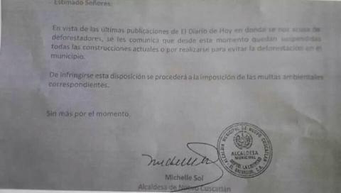 Carta firmada por  la alcaldesa Michelle Sol que comunica la suspensión de obras. Segunda Vuelta