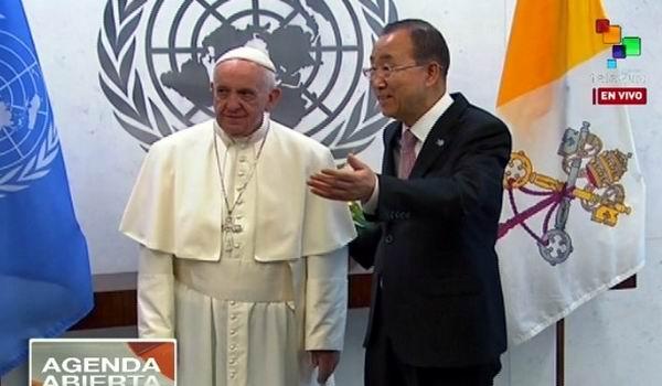 El papa con el secretario general de Naciones Unidas