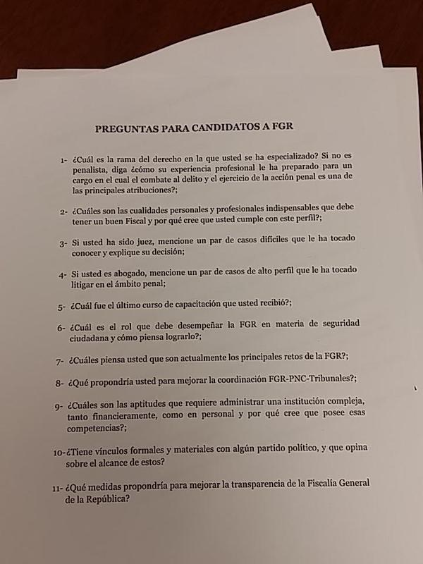 Las pereguntas que la Subcomisión les hace a los 72 candidatos a la FGR