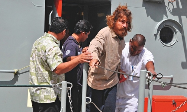 Alvarenga facing press and public for the first time. Photograph: US embassy in the Marshall Islands