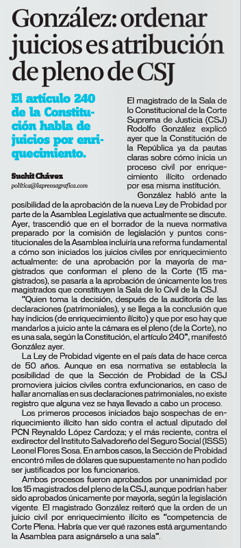 Fuente: La Prensa Gráfica , 16 diciembre 2015