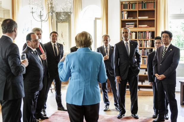 Merkel, here hosting heads of G-7 nations ahead of a June meeting in southern Germany, has marshaled international consensus on crises in Ukraine and Syria Jesco DenzelPack Leader Merkel, here hosting heads of G-7 nations ahead of a June meeting in southern Germany, has marshaled international consensus on crises in Ukraine and Syria