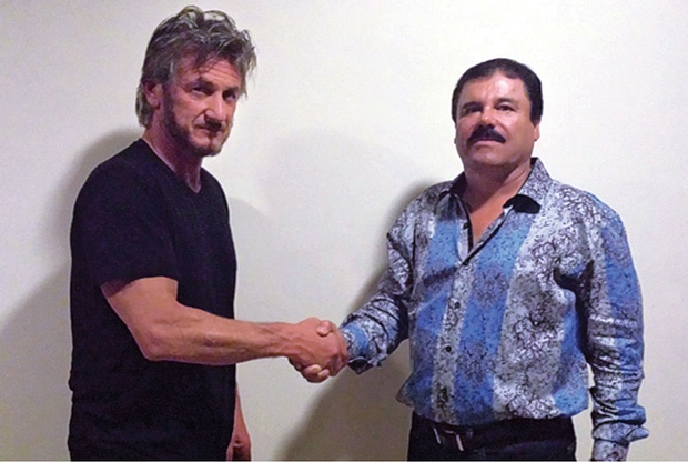 Sean Penn and Joaquín 'El Chapo' Guzmán in 2015. Photograph: Sean Penn/Rolling Stone