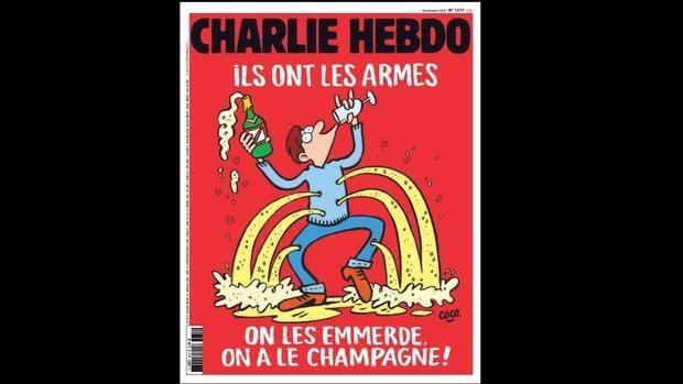La portada de la revista Charly Hebdo un año después del atentado: «Ellos tienen las armas, que se vayan a la mierda, ¡nosotros tenemos el champán!»