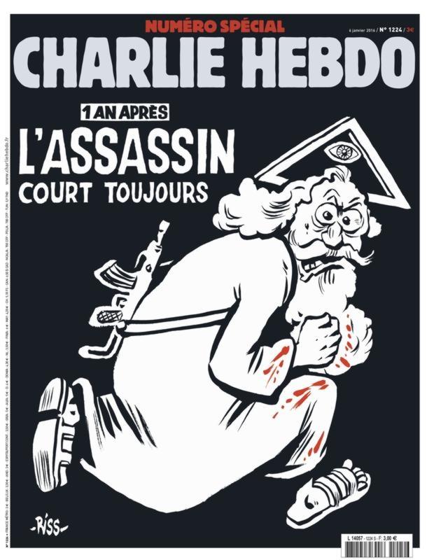 Portada del número especial de Charly Hebdo en el primer aniversaruio del atentado: «Un año después, el asesino sigue corriendo»