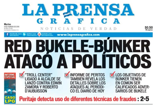 LPG20160209 - La Prensa Gráfica - PORTADA - pag 1