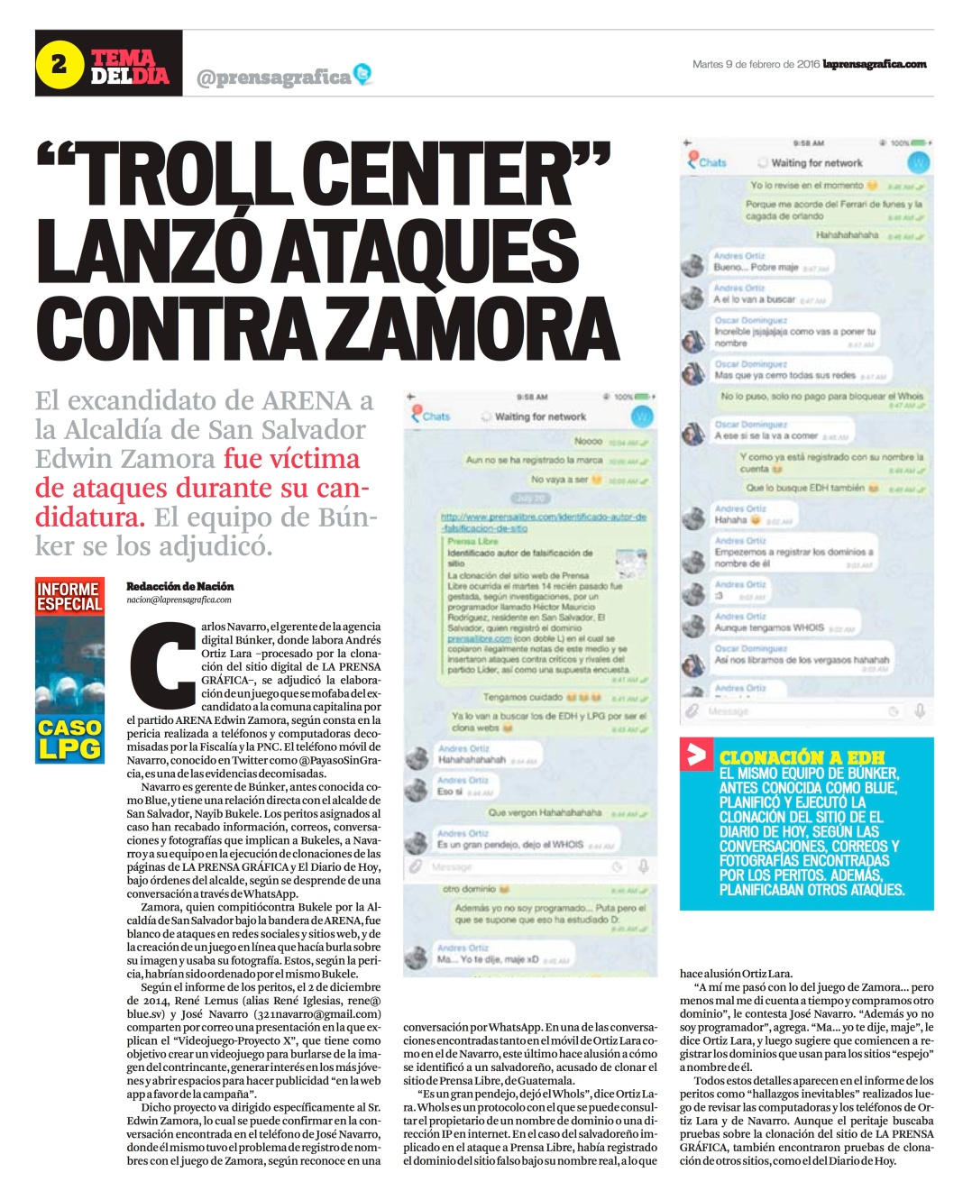 LPG20160209 - La Prensa Gráfica - PORTADA - pag 2