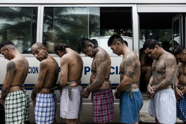 Inmates stand next to a police vehicle while being transferred to the Quezaltepeque prison in El Salvador on March 29. (Fred Ramos/For The Washington Post)