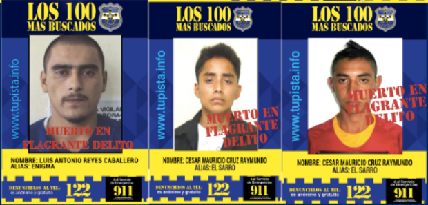 """The government on Monday released its first nationwide Top 100 Most Wanted list. Three days later it updated the list showing three suspected gangsters were killed """"while committing crimes."""""""