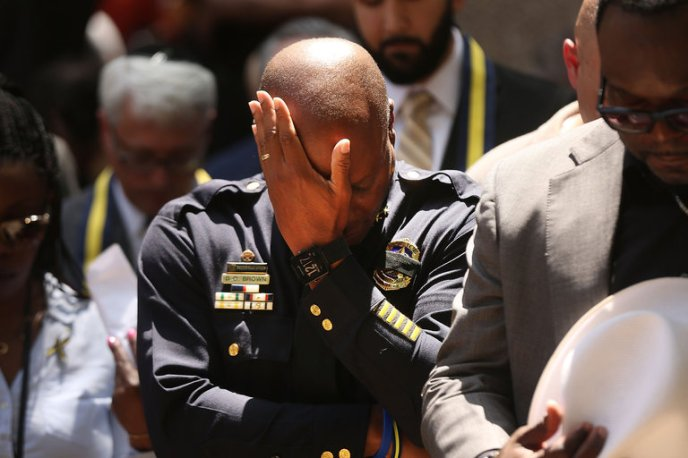 Police Chief David O. Brown of Dallas at a prayer vigil on Friday.