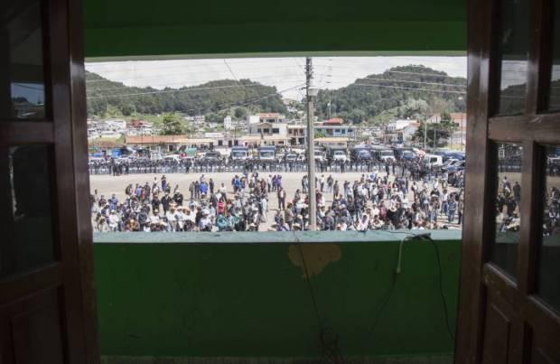 Vista de la plaza de San Juan Chamula desde el balcón del Ayuntamiento Saul Ruíz