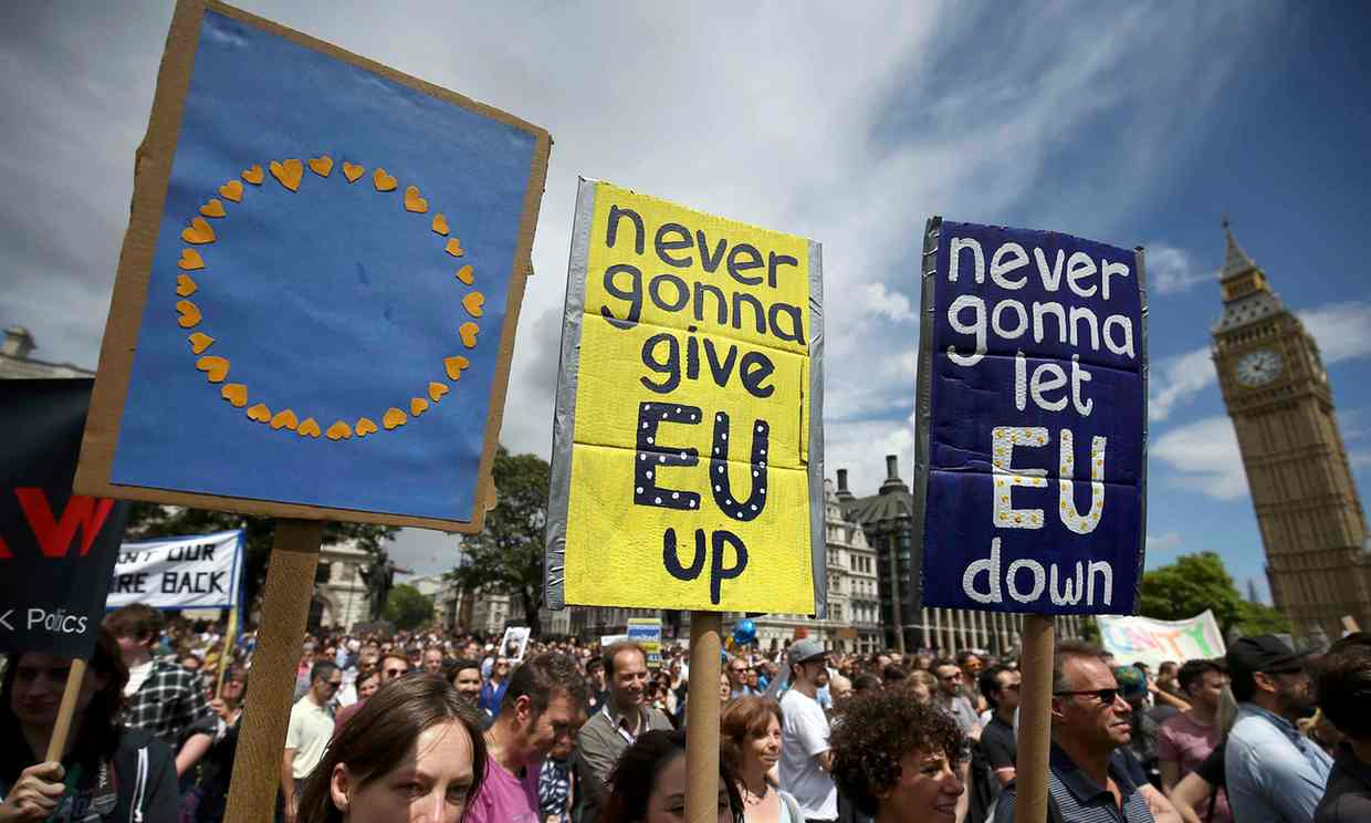 Protesters in Parliament Square during a demonstration against Britain's decision to leave the EU on Saturday. 'Please, bid goodbye in sorrow, not anger; and for all our sakes, do not bolt the door.' Photograph: Neil Hall/Reuters