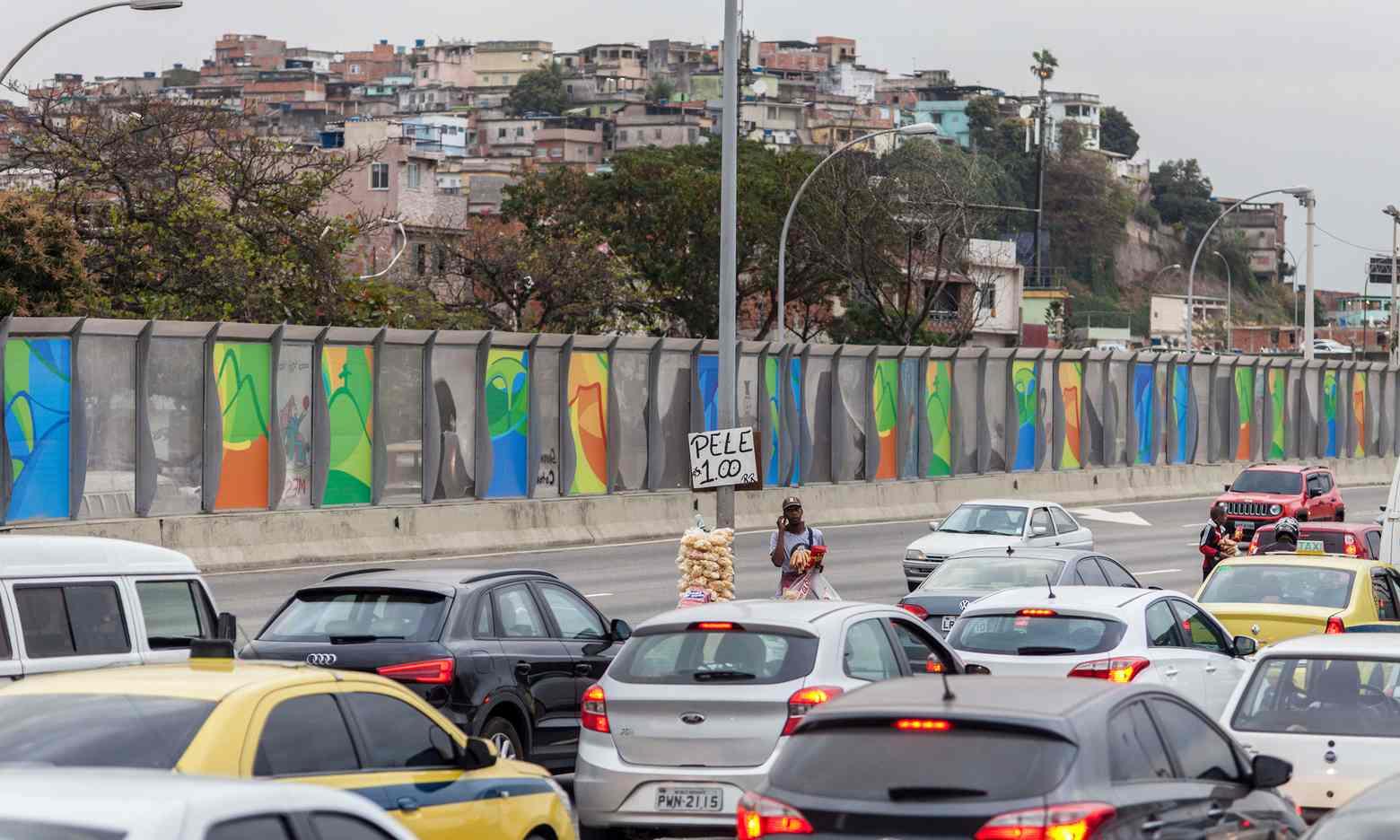 The 'wall of shame', which hides the Maré favela. Photograph: LightRocket via Getty/Brazil Photos