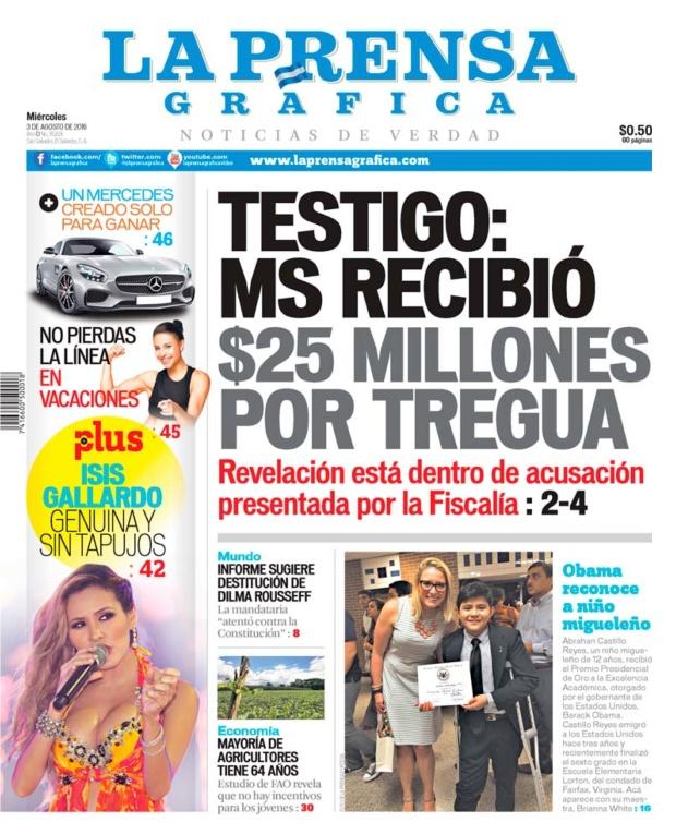 LPG20160803 - La Prensa Gráfica - PORTADA - pag 1