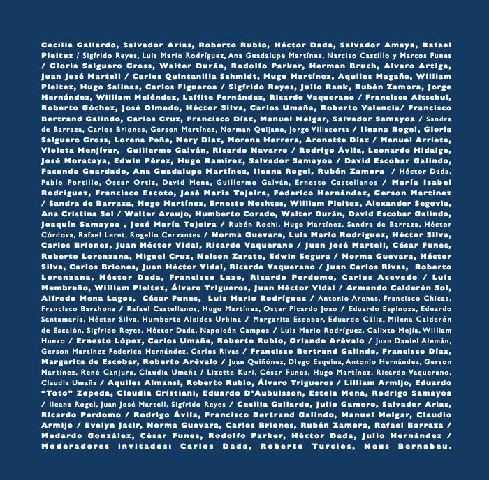 """La contraportada del libro: la lista de todos los participantes en """"Encuentros-la cena política"""""""