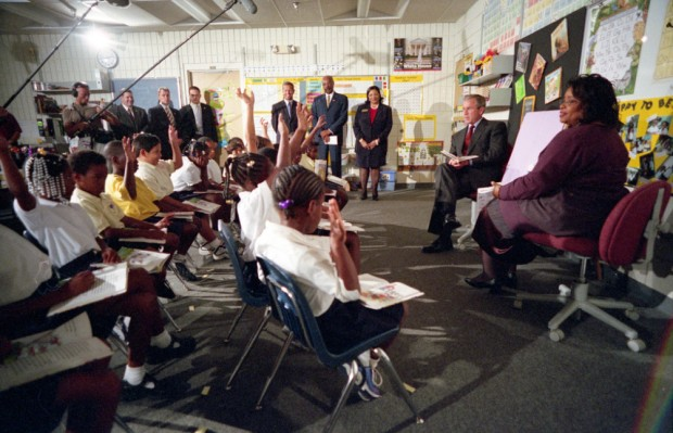 President George W. Bush participates in a reading demonstration the morning of Tuesday, Sept. 11, 2001, at Emma E. Booker Elementary School in Sarasota, Florida. | George W. Bush Presidential Library and Museum