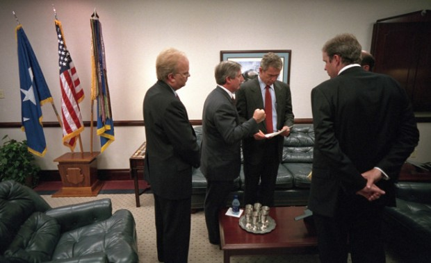 Bush confers with, from left, Karl Rove, Andy Card, Dan Bartlett and Ari Fleischer, prior to delivering remarks at Barksdale Air Force Base in Louisiana. | U.S. National Archives