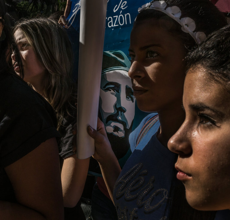 Students gathered at the University of Havana in November after Castro's death. Credit Mauricio Lima for The New York Times