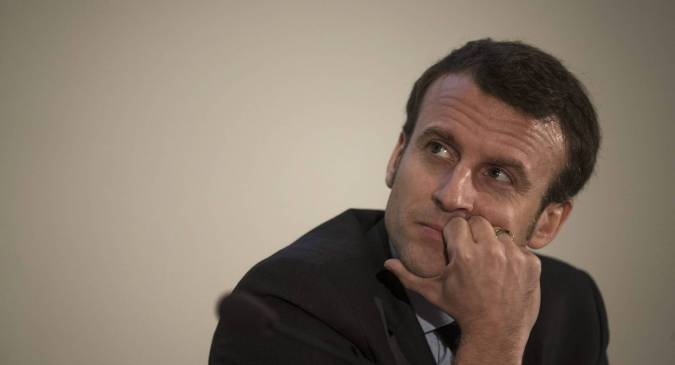 Emmanuel Macron, en la Universidad Humboldt de Berlín, el pasado martes. OLIVER WEIKEN EFE