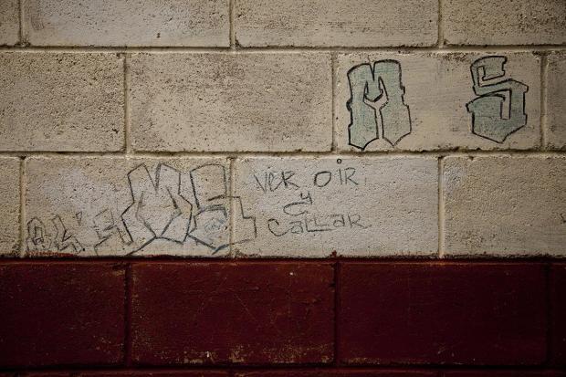 Placazos de la MS 13 en las viviendas de la Colonia El Rosal, del municipio de Quezaltepeque, en La Libertad. En estas comunidades cercanas al Centro Penal de Quezaltepeque, la Policía Nacional Civil y la Fuerza Armada lanzaron la campaña de borrado de grafitis el 3 de abril de 2016. La MS-13 dice estar dispuesta a incluir en una eventual agenda de diálogo la posible disolución de la pandilla. Foto de Víctor Peña, El Faro.