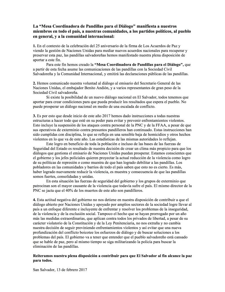 """El comunicado de la """"mesa Coordinadora de las pandillas para el diálogo"""". Fue difundido a los medios el día 15 de febrero 2017"""