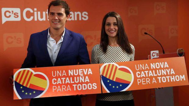 Rivera y Arrimadas, en la campaña catalana de 2015. EFE